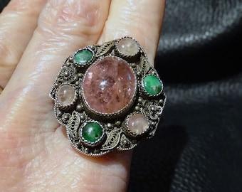 Antique Chinese Ring, Pink Tourmaline, Jade, 1800s
