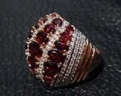 Rhodolite Garnet Ring, Natural White Zircons, 18K over Sterling