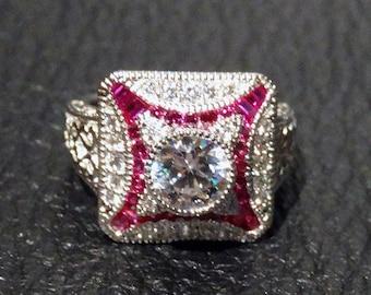 ArtDeco Replica Ring, Cubic Zirconia, Platinum over Sterling Silver