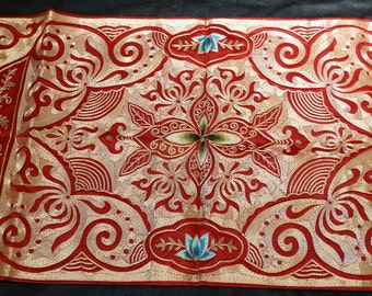 Embroidered Chinese Panel, Gold Couching, Large Vintage
