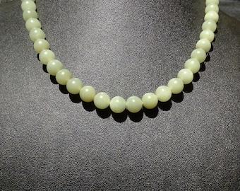 Jade Bead Necklace, Antique Nephrite