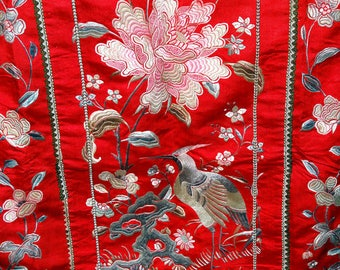 Embroidered Chinese Wedding Skirt, Qing Dynasty 1800s, Handmade PHENOMENAL CONDITION