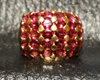 Rhodolite Garnet Ring, Sterling Silver Gold Overlay Dome Band