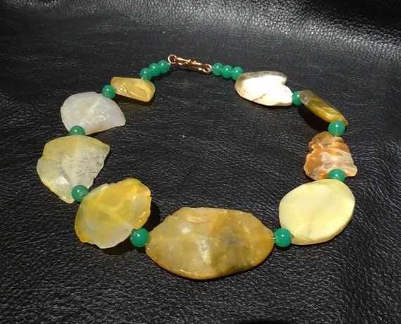 Agate Slice Necklace, Statement