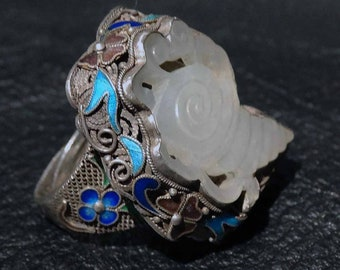 Jade Enamel Ring, Hetian Nephrite  Circa 1870