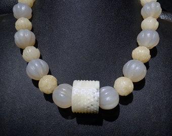 Antique Jade Necklace, Hetian Nephrite