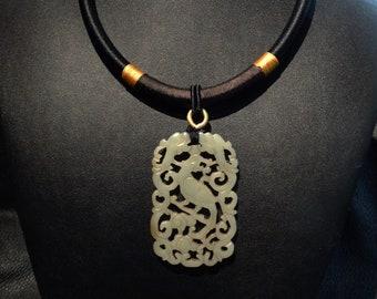 Jade Pendant Necklace, Hetian Nephrite, Circa 1800s