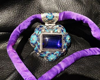 Amethyst Pendant Necklace Cloisonne Enamel Statement OOAK