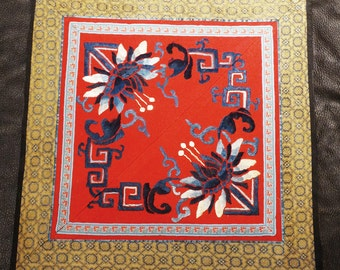 Embroidered Silk Panel Chinese Peonies 1900s Handmade