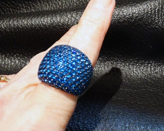 Dome Statement Ring, Blue Spinel, Platinum over Sterling  Silver