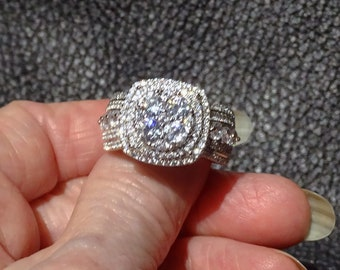 CZ Cluster Ring, Platinum over Sterling Silver