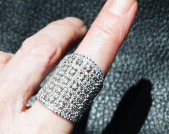 Vintage Statement Ring, Sterling Silver, Cubic Zirconia