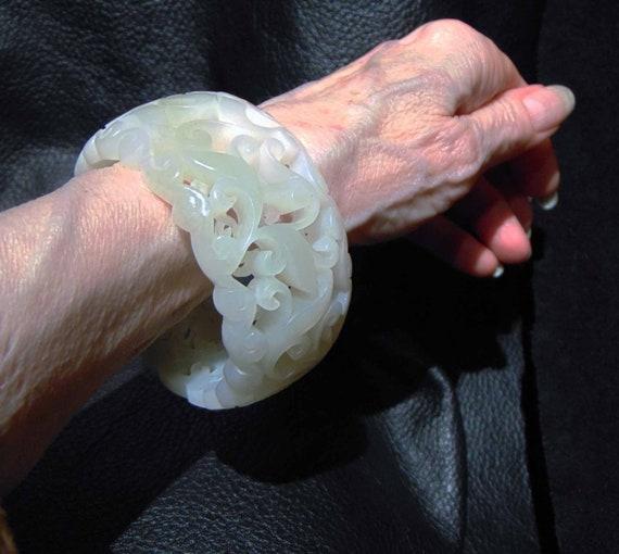 Jade Bangle Bracelet, Hetian Mutton Fat Nephrite 5