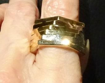 Modernist Ring, 14K Gold, Italian