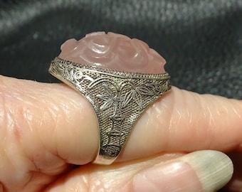 Antique RoseQuartz Ring, Chinese Silver 1890s