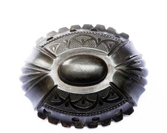 Victorian Brooch Pin, Vulcanite Rare