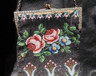 Floral Beaded Bag Circa 1900 Multicolor