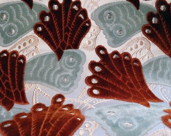 Antique Silk Velvet Exquisite Textile Circa 1800s 3 Yards Pristine Museum Quality