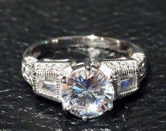 Engagement Ring, Vintage CZ, Sterling Silver