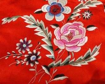 Embroidered Silk Panel Chinese 1900s Handmade