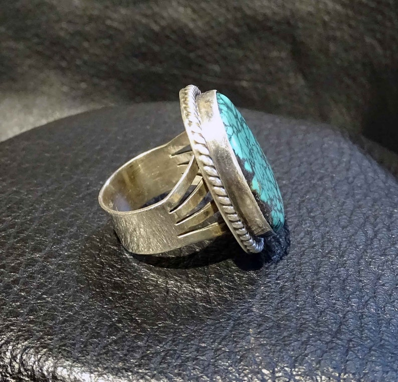Turquoise Spiderweb Ring Kingman Sterling Navajo