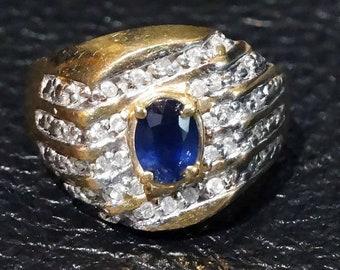 Sapphire Diamond Ring, Unisex Kanchanaburi Sapphire and Diamonds