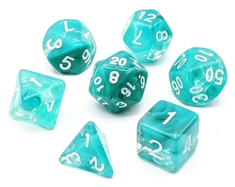 Watercolour Teal Dice Set   7pc Acrylic Polyhedral Dice Set for Tabletop Role Playing Games such as Dungeons and Dragons (DnD, D&D)