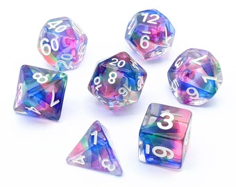 Ribbons of the Fey Bold Dice Set   7pc Resin Polyhedral Dice Set for Tabletop Role Playing Games such as Dungeons and Dragons (DnD, D&D)