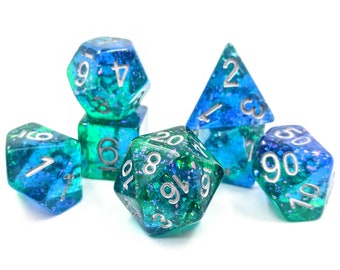 The Deep Dice Set   Polyhedral Dice Set   Glitter   Mermaid   Dungeons and Dragons   DnD   Role Playing Dice   RPG