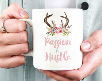 Passion & Hustle Mug   11oz White Ceramic Coffee Mug   Tea Mug   Office Decor   Watercolour Florals   Gift for Her   Girl Boss