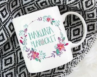 Hakuna Maf*ckit Mug   Mature content   11oz White Ceramic Coffee Mug   Tea Mug   Funny Mug   Watercolour Florals   Gift for Her