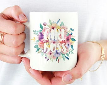 Girl Boss Mug   11oz White Ceramic Coffee Mug   Cup   Office Decor   Watercolour Florals   Gift for Her