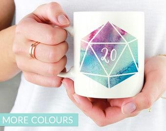 D20 Dice Mug   Colour Options   11oz White Ceramic Coffee Mug   Dungeons and Dragons   RPG   Gift for Geeks