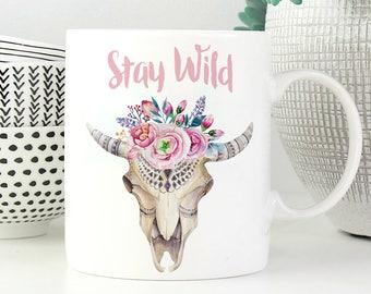 Stay Wild Mug   More Colours   Boho Skull   11oz White Ceramic Coffee Mug