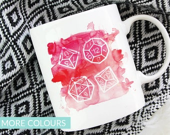 Polyhedral Dice Mug   Colour Options   11oz White Ceramic Coffee Mug   Dungeons and Dragons   RPG   Gift for Geeks