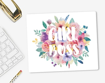 Girl Boss Mouse Pad | Fabric Mouse Mat | Modern Mousepad | Office Decor | Floral | Gift for her