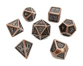 Aged Copper Metal Dice Set Polyhedral Dice Set Dungeons and Dragons Pathfinder Role Playing Dice RPG Gift for Geeks
