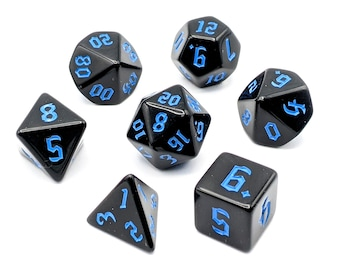 Onyx Blue Dice Set   7pc Acrylic Polyhedral Dice Set for Tabletop Role Playing Games such as Dungeons and Dragons (DnD, D&D)