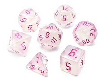 Ice Crystal Pink Dice Set   7pc Acrylic Polyhedral Dice Set for Tabletop Role Playing Games such as Dungeons and Dragons (DnD, D&D)