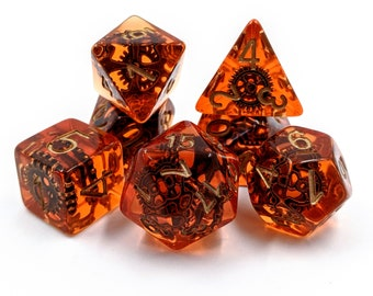 Steampunk Amber Dice Set   7pc Resin Polyhedral Dice Set for Tabletop Role Playing Games such as Dungeons and Dragons (DnD, D&D)