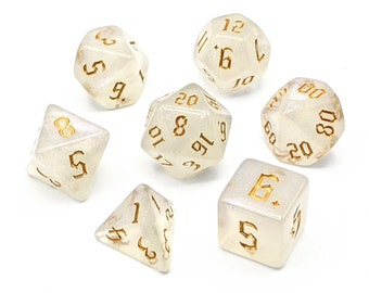Ice Crystal Gold Dice Set   7pc Acrylic Polyhedral Dice Set for Tabletop Role Playing Games such as Dungeons and Dragons (DnD, D&D)
