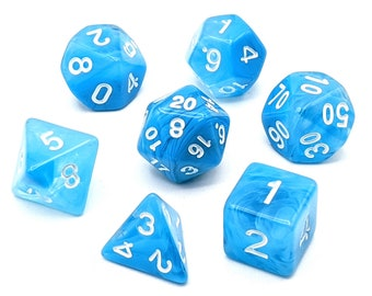 Watercolour Blue Dice Set   7pc Acrylic Polyhedral Dice Set for Tabletop Role Playing Games such as Dungeons and Dragons (DnD, D&D)