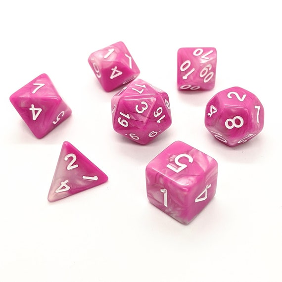 Dungeons and Dragons Gift for Geeks RPG Sorbet Pink Dice Set Role Playing Dice Polyhedral Dice Set Pathfinder
