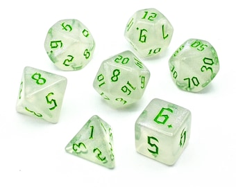 Ice Crystal Green Dice Set   7pc Acrylic Polyhedral Dice Set for Tabletop Role Playing Games such as Dungeons and Dragons (DnD, D&D)