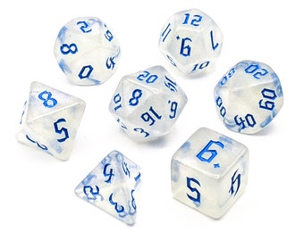 Ice Crystal Blue Dice Set   7pc Acrylic Polyhedral Dice Set for Tabletop Role Playing Games such as Dungeons and Dragons (DnD, D&D)