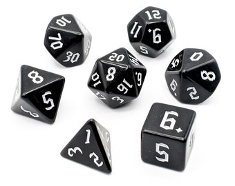 Onyx White Dice Set   7pc Acrylic Polyhedral Dice Set for Tabletop Role Playing Games such as Dungeons and Dragons (DnD, D&D)