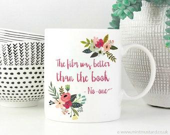 Book Lover Mug   11oz White Ceramic Coffee Mug   Gift for Book Lover or Bibliophile   Floral   Funny Mug