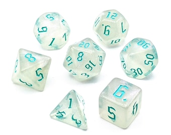 Ice Crystal Mint Dice Set   7pc Acrylic Polyhedral Dice Set for Tabletop Role Playing Games such as Dungeons and Dragons (DnD, D&D)
