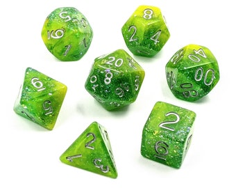 Feywild Forest Dice Set   Polyhedral Dice Set   Glitter   Gold Foil   Dungeons and Dragons   Pathfinder   Role Playing Dice   RPG