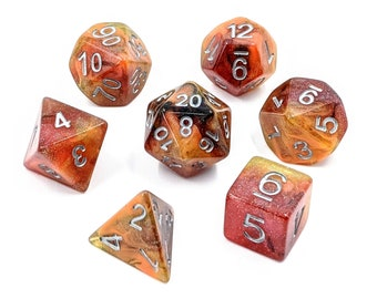 Fire Transmutation Dice Set   Glitter Polyhedral Dice Set   Dungeons and Dragons   Pathfinder   Role Playing Dice   RPG   Gift for Geeks